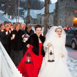 A candle-lit walk from the church to the reception added a fun and romantic touch