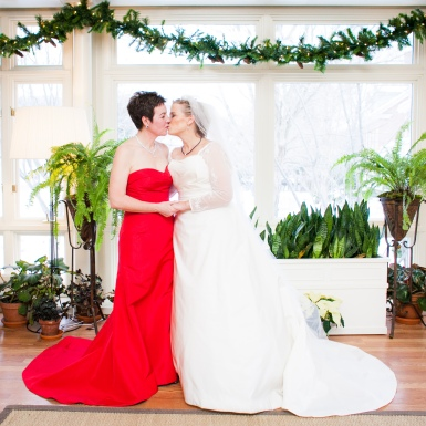 Gorgeous red and white gowns for the brides