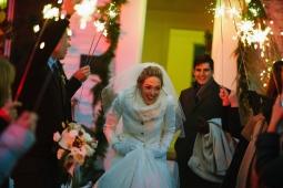 Sparkler sendoff as the happy couple exits!