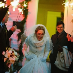 Sparkler sendoff as the happy couple exits!