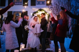 The glow of the sparklers warmed a chilly wedding night
