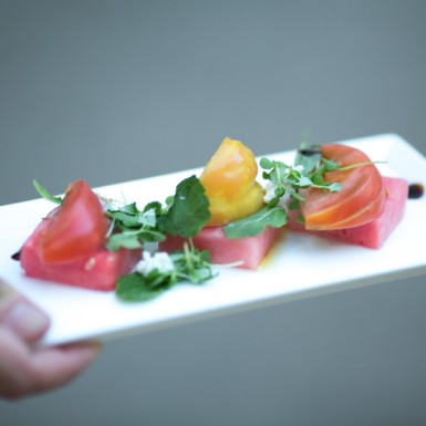 Heirloom tomato salad with watermelon and mint by the Four Seasons. Perfect for a spring evening.