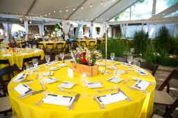 Yellow linens, bright flowers, and festoon lights.