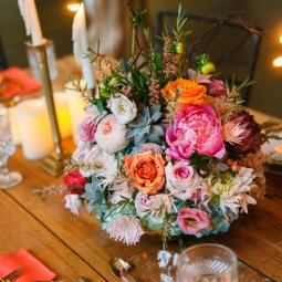 Bright and fun floral centerpiece created by Violet Hill Floral