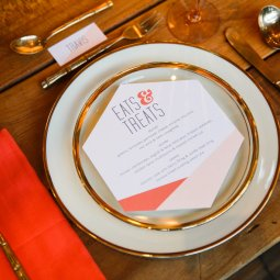 Name cards and menus created by Peach & Paper Design