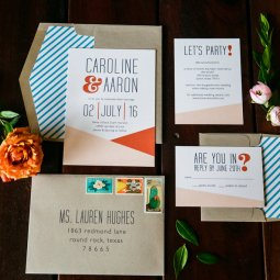 Mid-Century invitations created by Peach & Paper Design